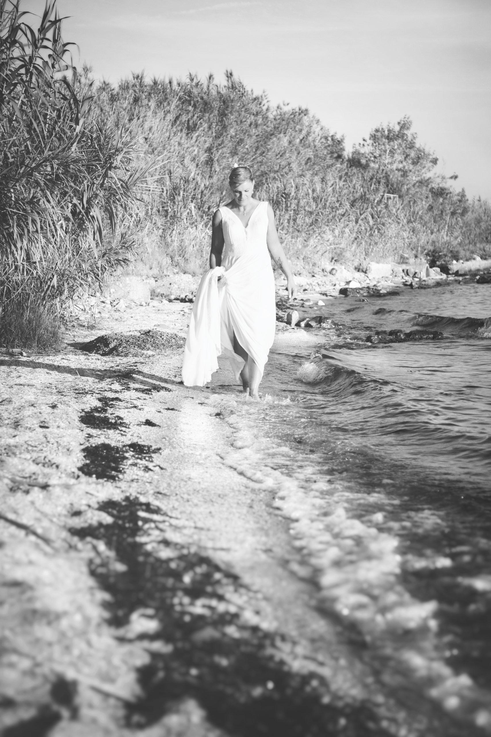 Photographe mariage, portrait noir et blanc, portrait de la mariée